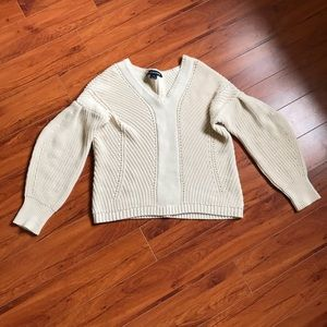 French connection cream balloon sleeve sweater